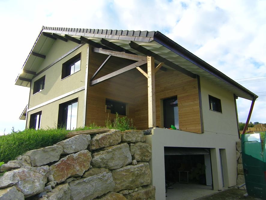 Maison ossature bois coponex charpente 38 entreprise for Interieur maison ossature bois